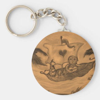 Owl and Pussy Cat boat Ride Basic Round Button Keychain