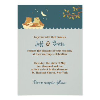Owl and Pussycat Blue Wedding Custom Invitations