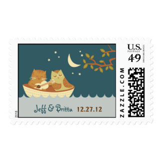 Owl and Pussycat (Blue) Wedding Postage Stamp