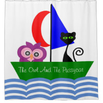 Owl And Pussycat Custom White Shower Curtain