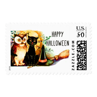 Owl and Pussycat Halloween Art Postage