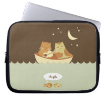 Owl and Pussycat Personalized Laptop Sleeve