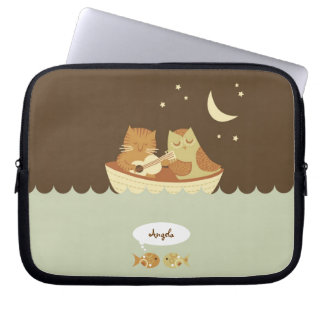 Owl and Pussycat Personalized Laptop Sleeves