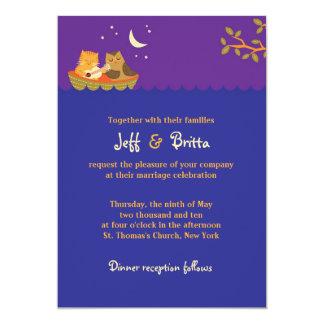 Owl and Pussycat (Purple) Wedding Card
