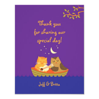 Owl and Pussycat (Purple) Wedding Thank You Card