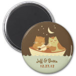 Owl and Pussycat Wedding Save the Date 2 Inch Round Magnet