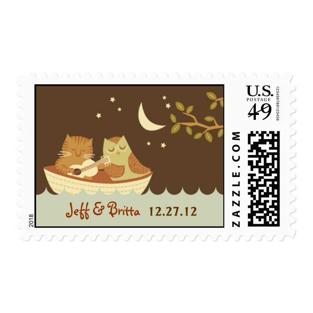 Owl and Pussycat Wedding Stamps