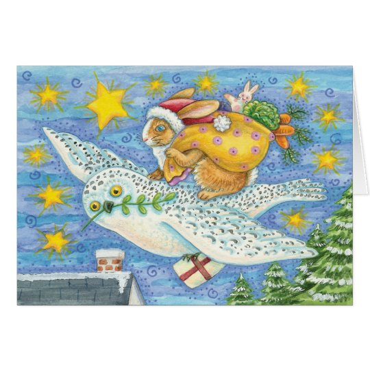 Owl And Rabbit Christmas Card - holiday Card