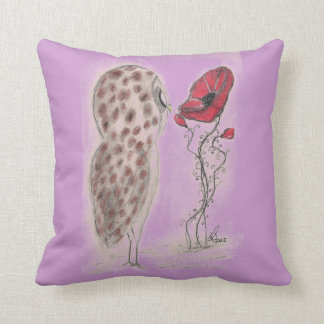 Owl And Red Poppy - American MoJo Pillows
