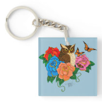 Owl and Roses Keychain