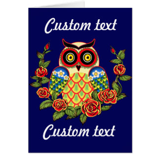 Owl and Roses Mexican style Card