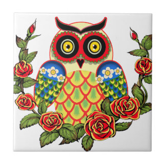Owl and Roses Mexican style Ceramic Tile