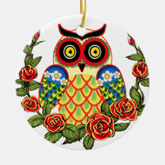 Owl and Roses Mexican style Double-Sided Ceramic Round Christmas Ornament