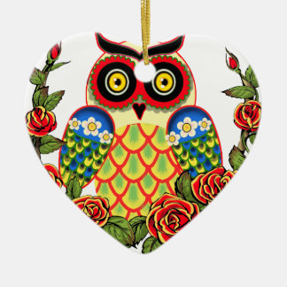 Owl and Roses Mexican style Double-Sided Heart Ceramic Christmas Ornament