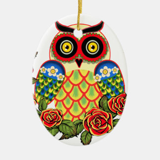 Owl and Roses Mexican style Double-Sided Oval Ceramic Christmas Ornament
