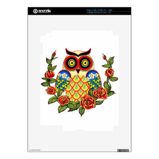 Owl and Roses Mexican style iPad 2 Skins