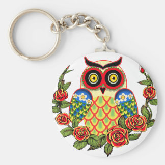 Owl and Roses Mexican style Keychain