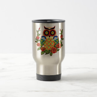 Owl and Roses Mexican style 15 Oz Stainless Steel Travel Mug
