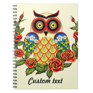 Owl and Roses Mexican style Notebook