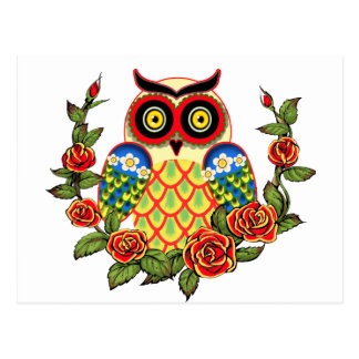 Owl and Roses Mexican style Postcard