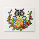 Owl and Roses Mexican style Puzzle