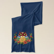 Owl and roses Mexican style Scarf