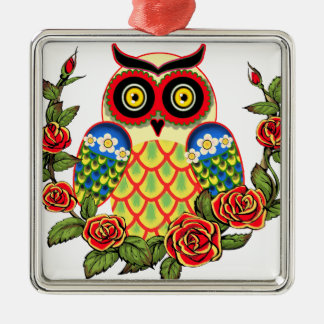 Owl and Roses Mexican style Square Metal Christmas Ornament