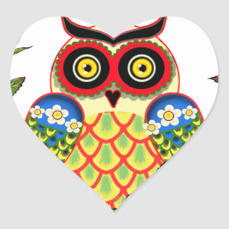 Owl and Roses Mexican style Stickers