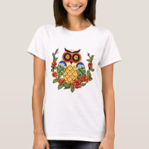 Owl and Roses Mexican style T-Shirt
