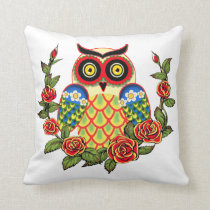 Owl and Roses Mexican style Throw Pillow