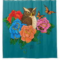 Owl and Roses Shower Curtain