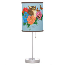 Owl and Roses Table Lamp