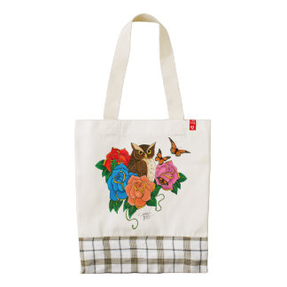Owl and Roses Zazzle HEART Tote Bag