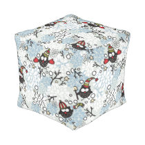 Owl and snow pattern pouf