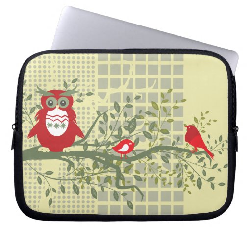 Owl and Song Birds on Tree Branch Computer Sleeves