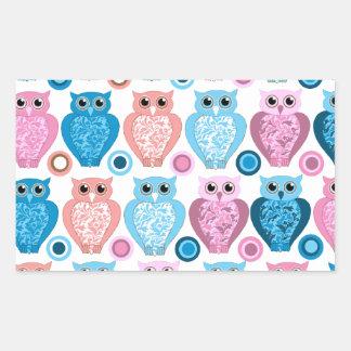 Owl and Spots Design Rectangular Sticker