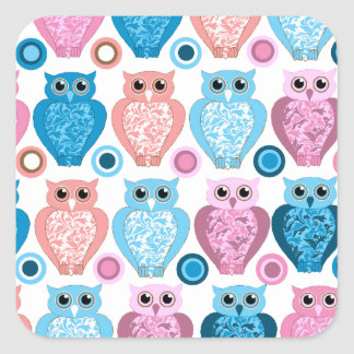 Owl and Spots Design Square Sticker