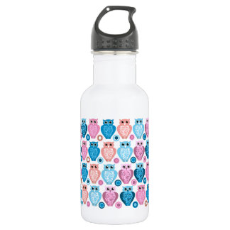 Owl and Spots Design Stainless Steel Water Bottle