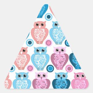 Owl and Spots Design Triangle Sticker