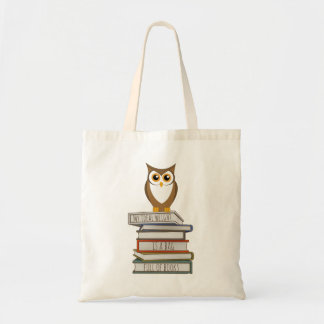 Owl and Stack of Books Tote Bag