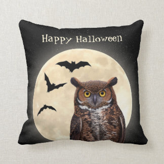 Owl and The Full Moon Throw Pillow