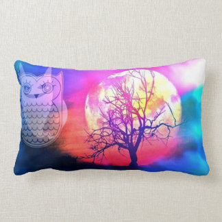 Owl and the Moon fantasy tree pillow