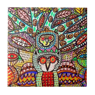 owl and tree off life by Sandra Silberzweig Ceramic Tile
