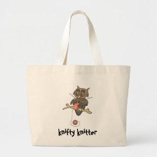 owl and yarn knifty knitter jumbo tote bag