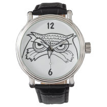 Owl Angry Artistic Sketch Cool Minimalist Unique Watch