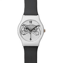Owl Angry Artistic Sketch Cool Minimalist Unique Wristwatch