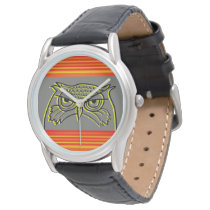 Owl Angry Artistic Sketch Orange Neon Stripes Cool Watch