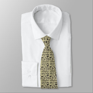 Owl Ankh Hieroglyphs Crochet All Over Printed Neck Tie