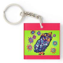 Owl art 2 keychain