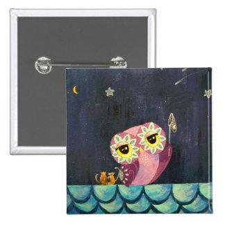 Owl Art - Catch A Falling Star Button